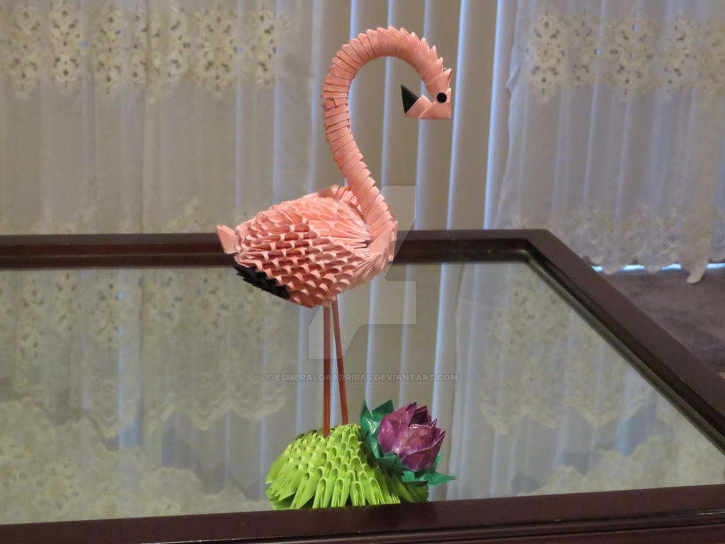 3d origami flamingo by esmeraldaarribas on deviantart. Black Bedroom Furniture Sets. Home Design Ideas
