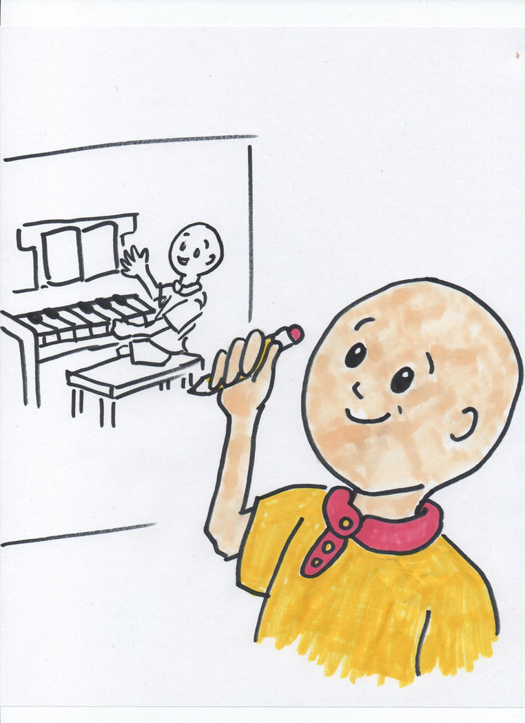 Caillou draws a picture of him playing his piano by RhiannaPiano300