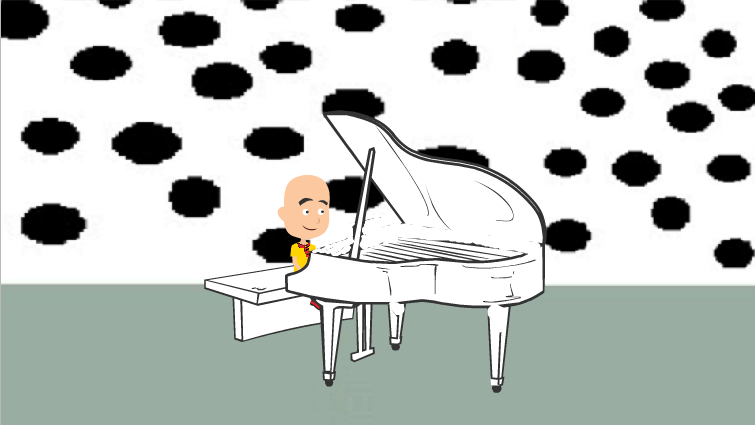 Caillou playing his piano in Vyond/GoAnimate Form by RhiannaPiano300