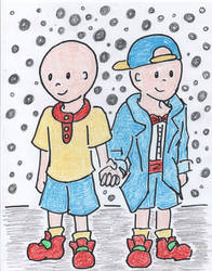 Caillou and His MFPB self in his closet