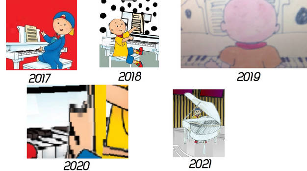 Evolution of Caillou playing his piano (2017-2021)