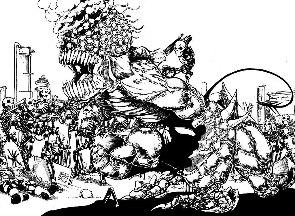 Heroes of Humanity: Skelebots vs Deevil Horror by bar1scorpio