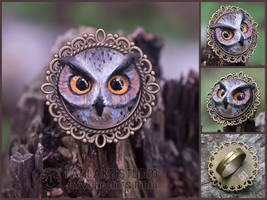 Eagle-owl ring - for sale by JarviTiralin