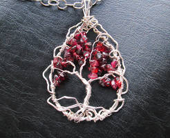 Garnet wirewrapped tree of life pendant necklace by Cre8tivedesignz