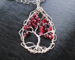 Garnet wirewrapped tree of life pendant necklace