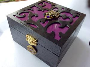 Wolf pentagram wooden jewellery wooden trinket box