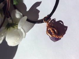 Amethyst Pendant with Copper Wire