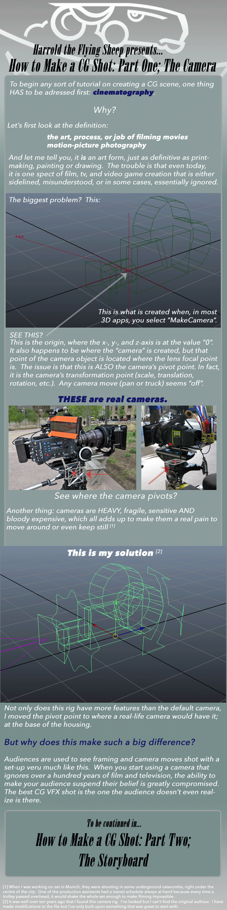 How to Make a CG Shot: Part 1, The Camera by harroldsheep