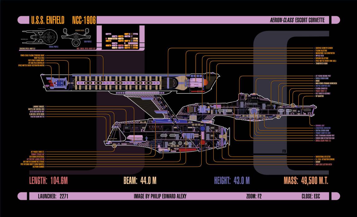 U S S  Enfield, MSD/LCARS Diagram (updated!) by harroldsheep on