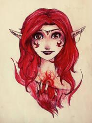 Fire elf by SumitaThePurple