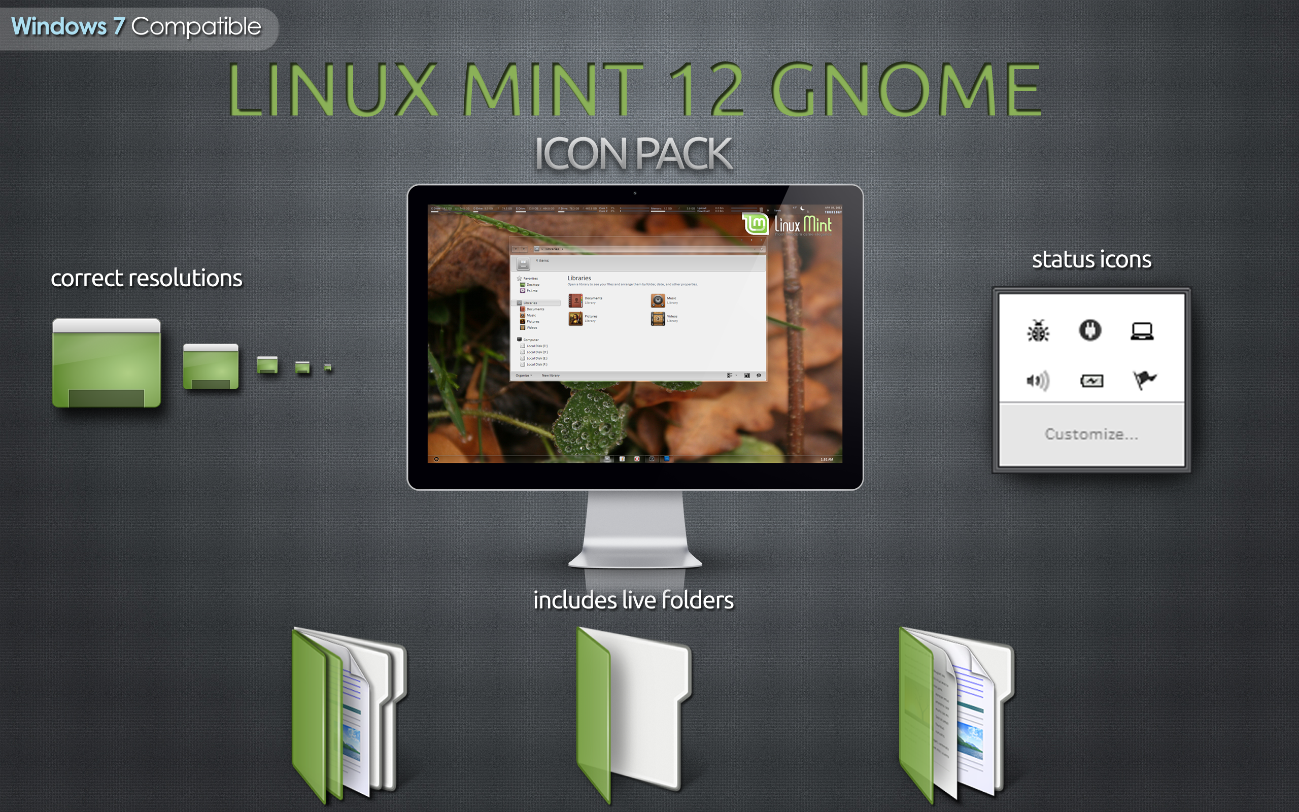 Linux Mint 12 Gnome Icon Pack for Windows 7 by RudeBoySes