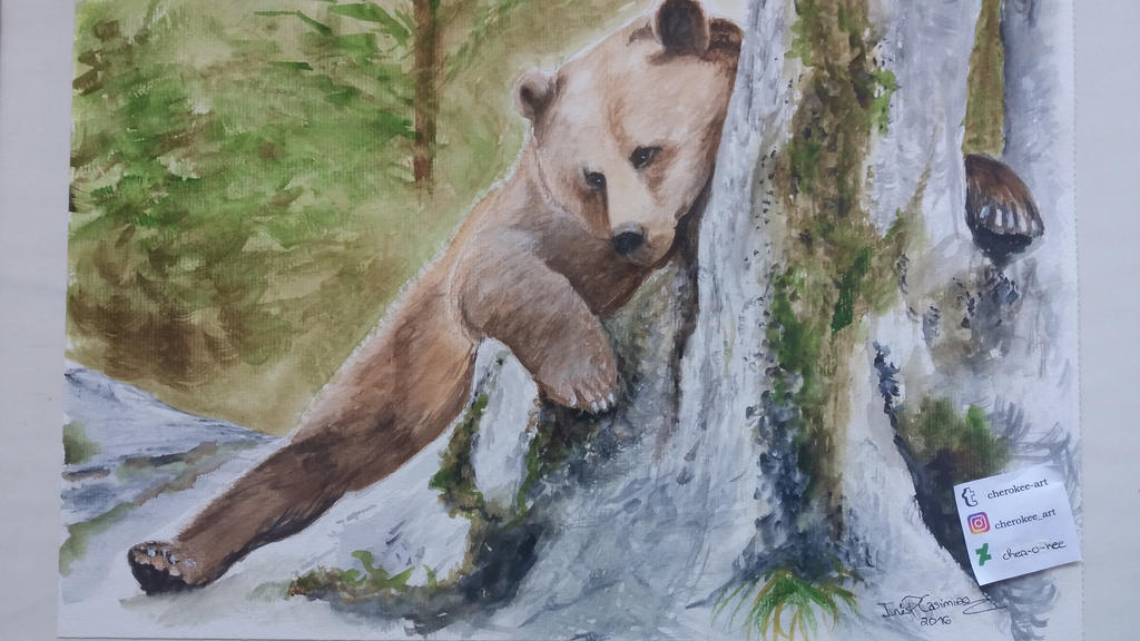 Bear in watercolor by cher-o-kee