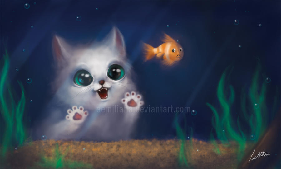 Hungry cat by leamatte