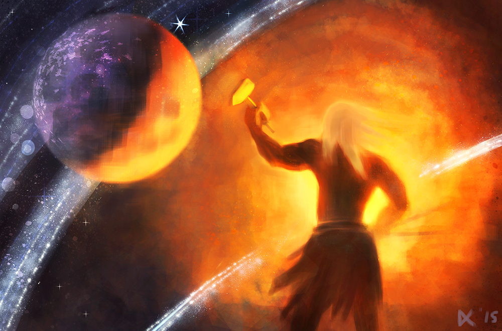 Ilmarinen forges the sky by AnnaLuminara
