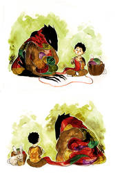 Knitting Kid and Crow by fresh4u