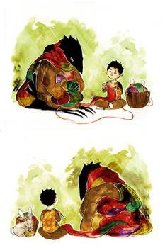Knitting Kid and Crow