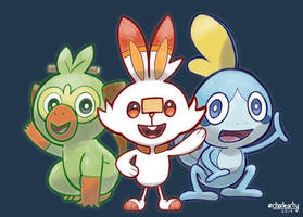 Pokemon Sword and Shield Buddies by charlieartsy