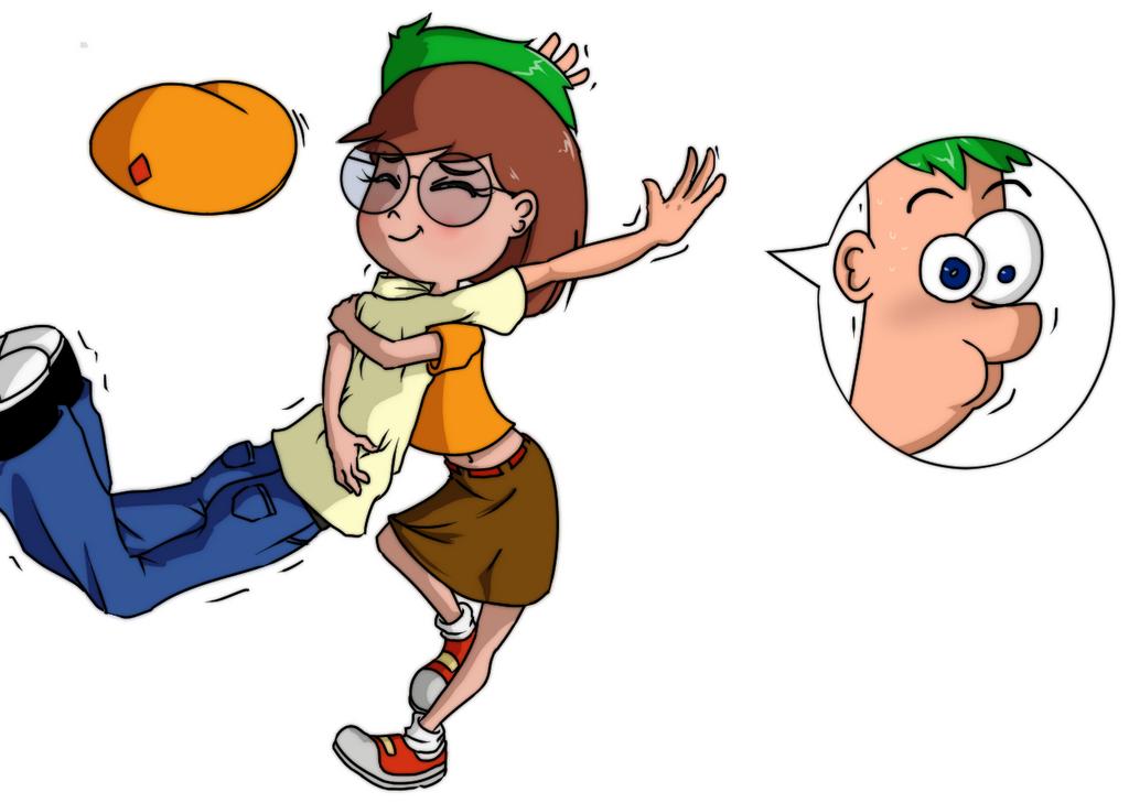 Gretchen hugs Ferb by cheesekunart on DeviantArt