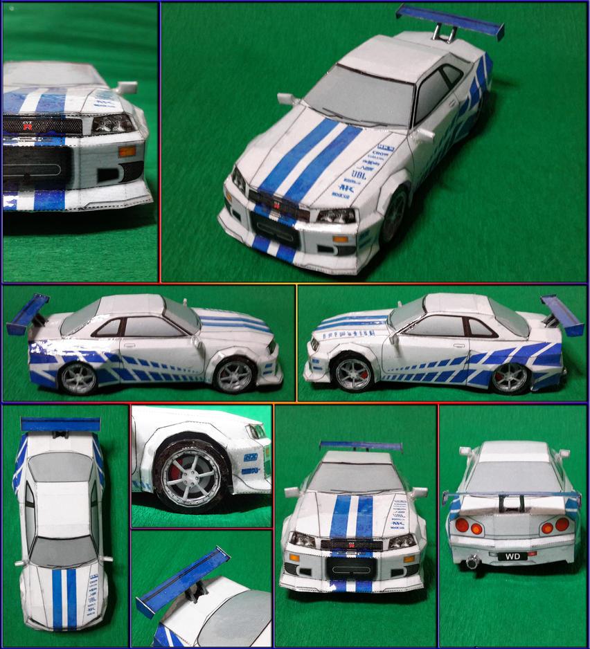 Nissan Skyline GTR R34 2 Fast 2 Furious Papercraft By