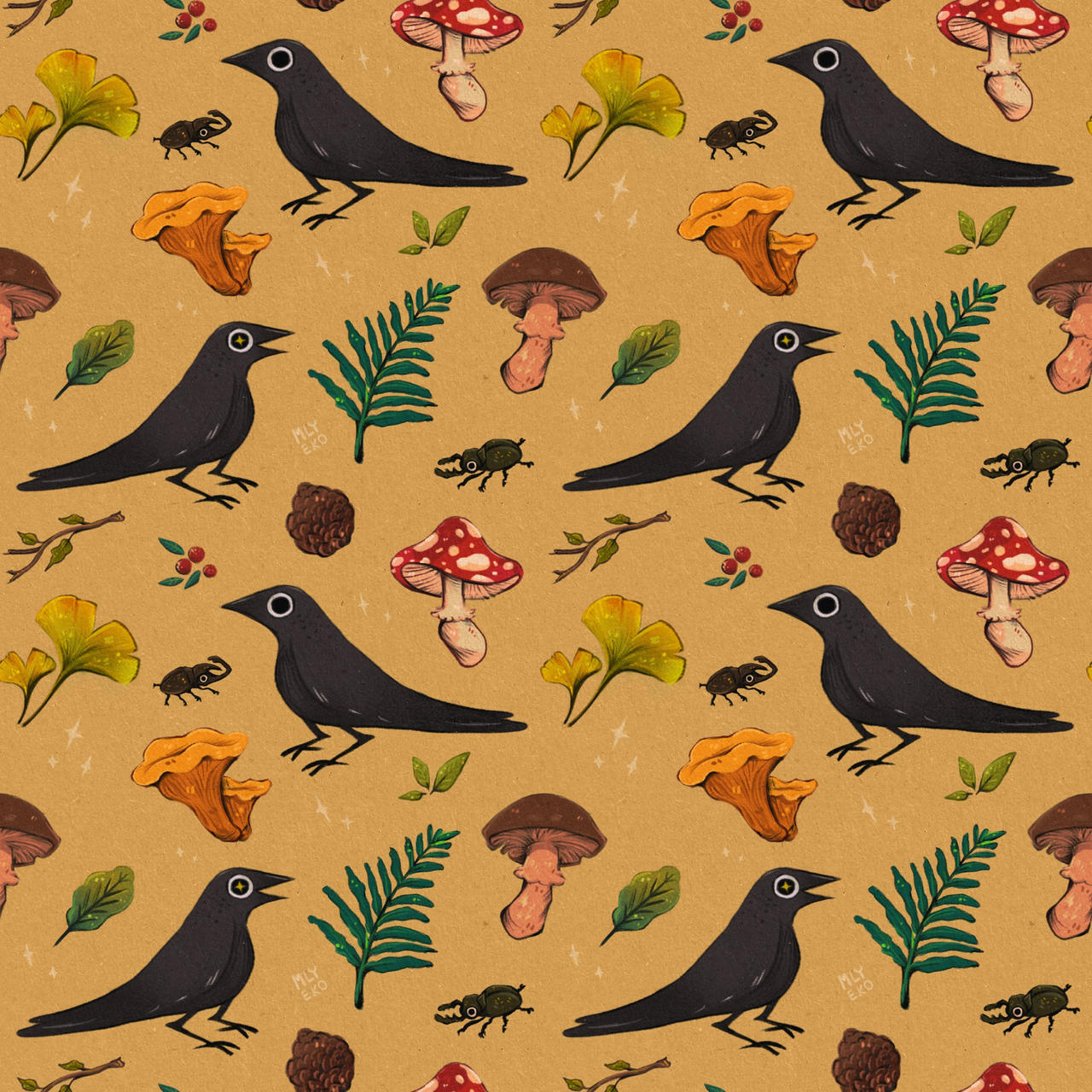 crows and mushrooms