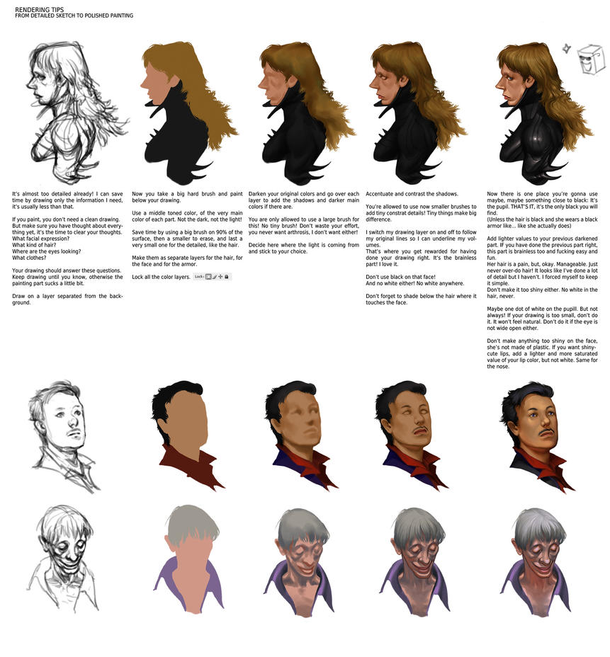 Digital Painting Without Lineart : Rendering tips by smirtouille on deviantart