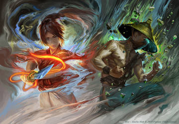 Fire and Jade Diptych by Smirtouille