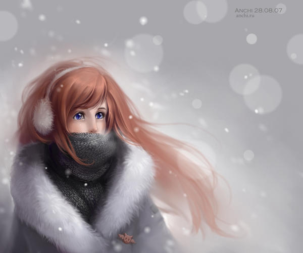 Anchi and snow by Anchi