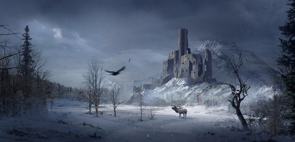 Castle in a snowy forest by SergeyZabelin