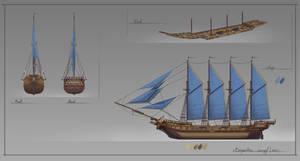 Barquentine. Concept Ship.