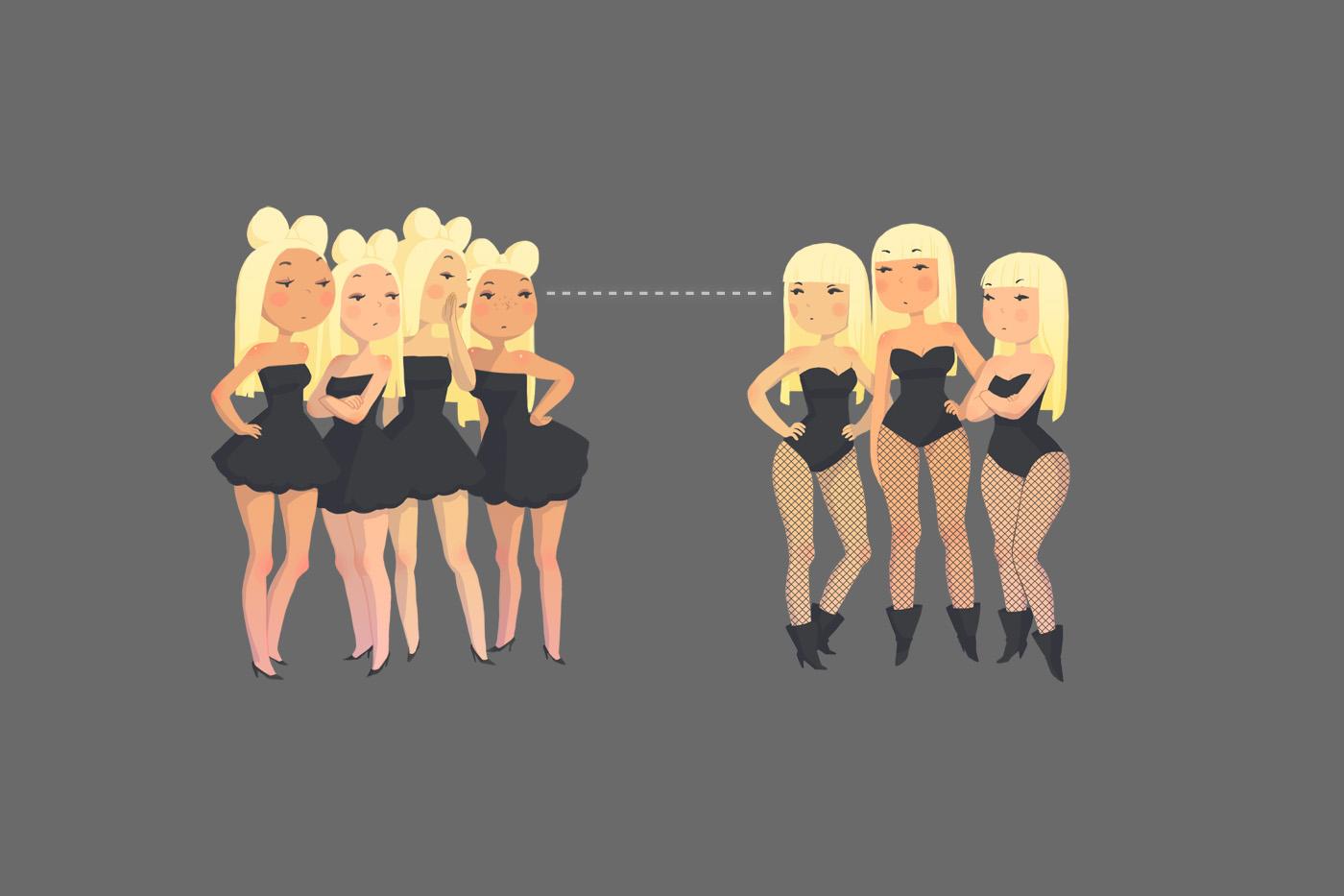 Teenage Lady Gaga Girls by joy-ang