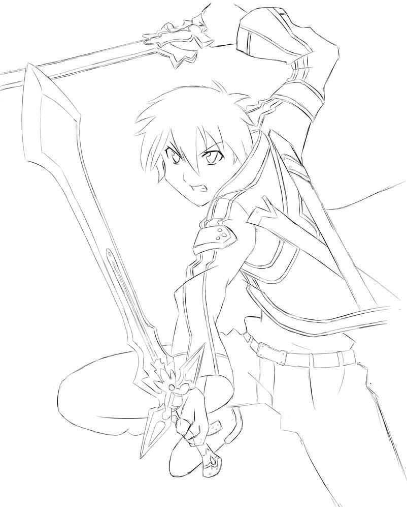 Kirito Lineart : Line art sao kirito by seolxnguyen on deviantart