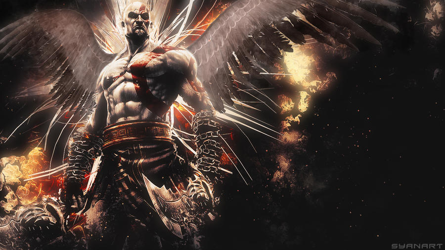 god of war 2 kratos wallpaper by thesyanart