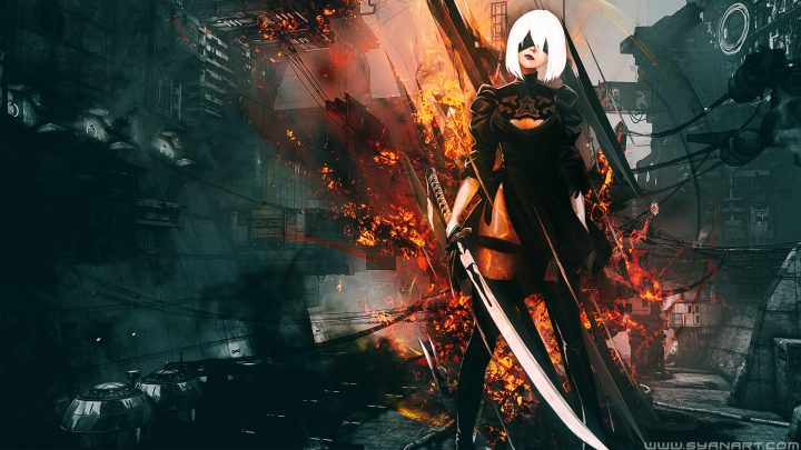 Nier Automata Fan Art Wallpaper 01 1920x1080: Nier Automata Platinum Wallpaper By TheSyanArt On DeviantArt