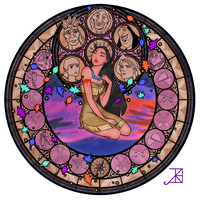 Stained Glass: Pocahontas by Akili-Amethyst