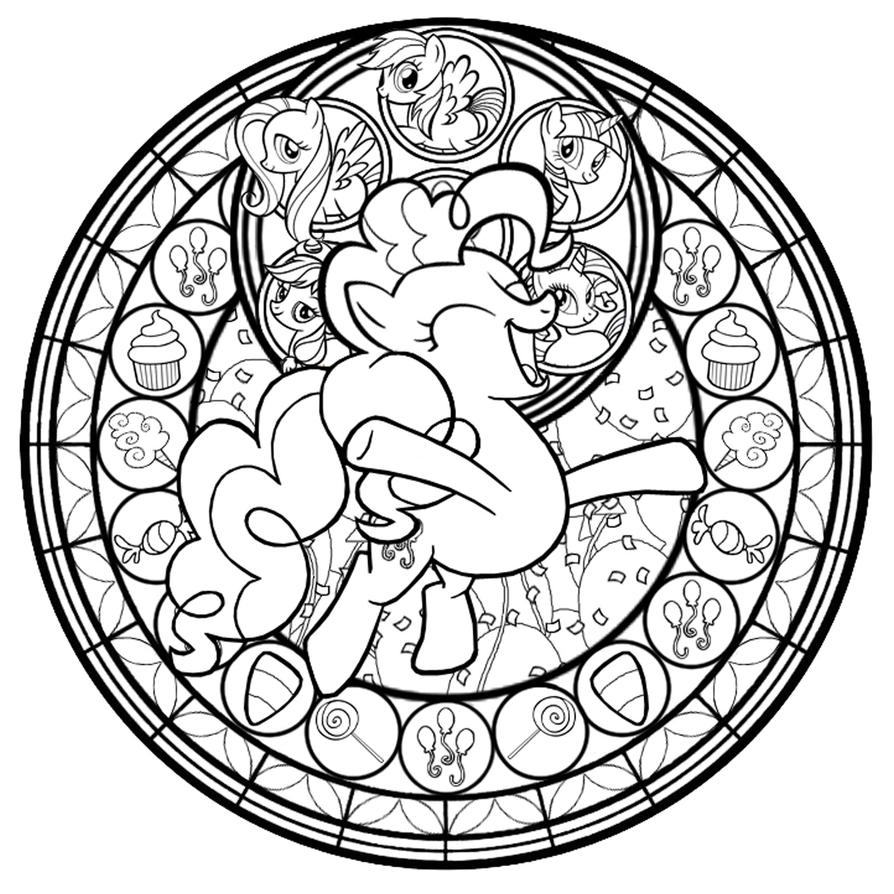 Pinkie Pie Stained Glass Line Art By Akili Amethyst