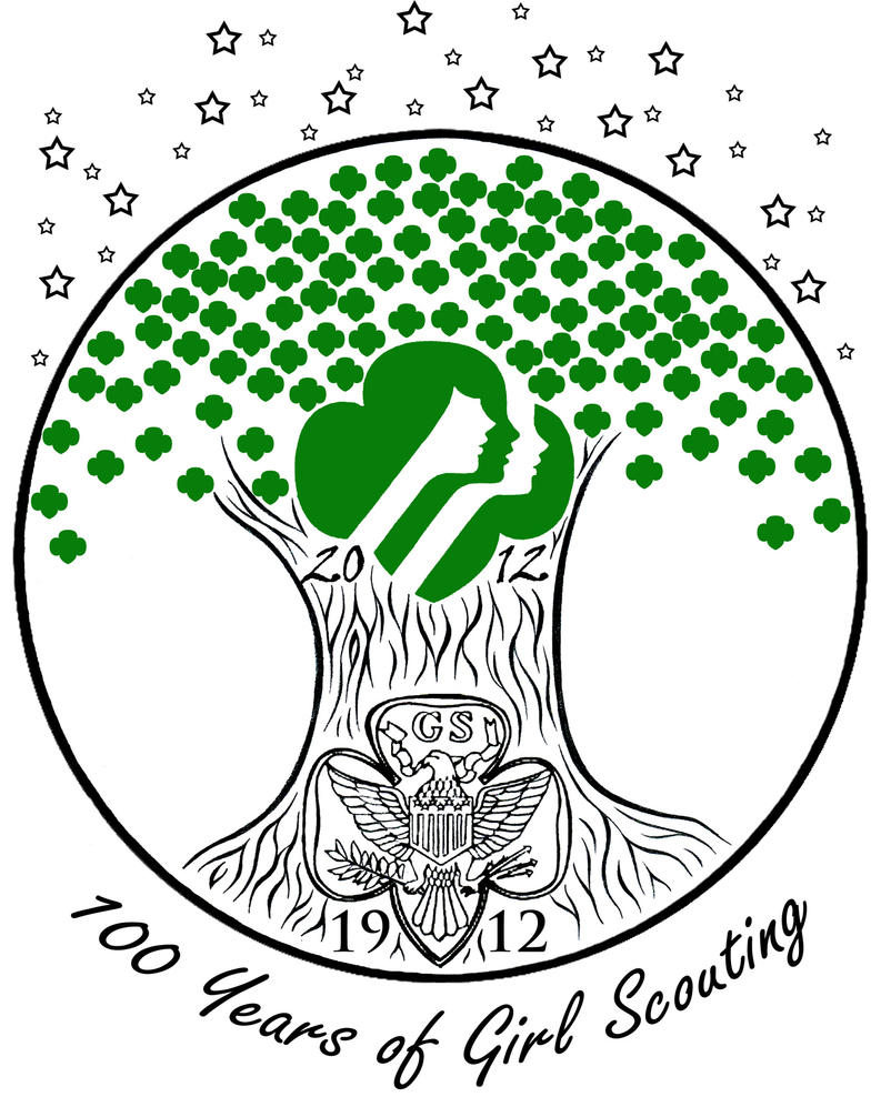 100 years of girl scouting  on white  by akili amethyst on