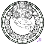 Alice Stained Glass -line art-