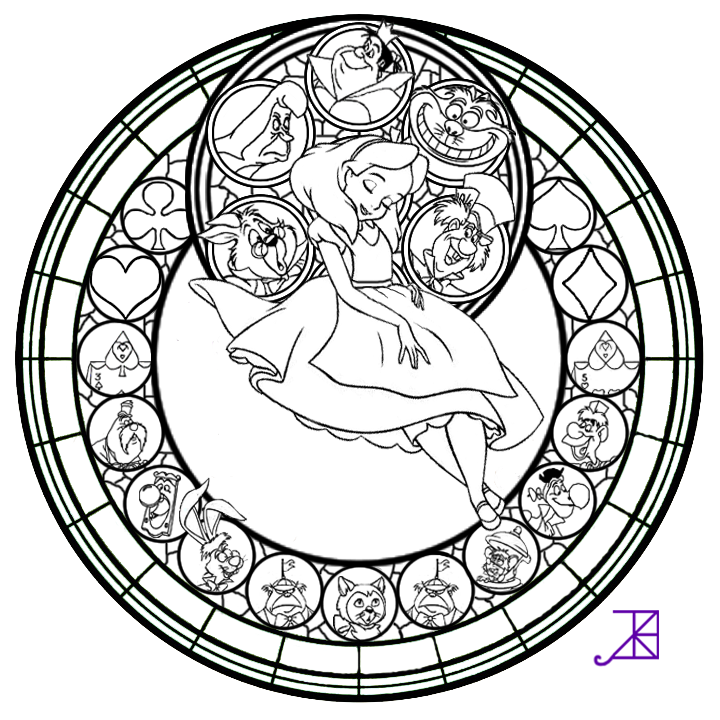Alice Stained Glass Line Art By Akili Amethyst On DeviantArt