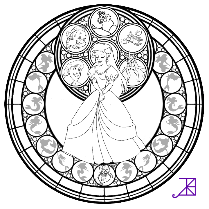 Ariel Stained Glass Line Art By Akili Amethyst On DeviantArt