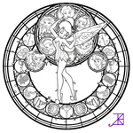 Disney Fairies Stained Glass -line art-