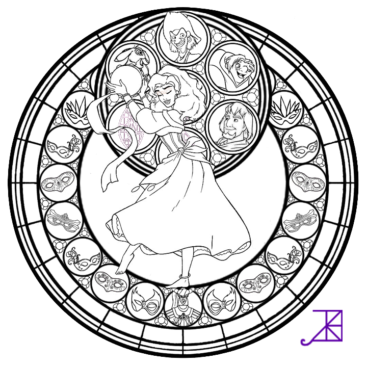 Esmeralda Stained Glass Line Art By Akili Amethyst On Stained Glass Disney Princess Free Coloring Sheets