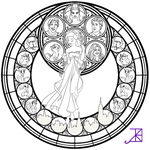 Giselle Stained Glass -line art-