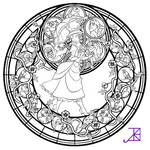Jane Stained Glass -line art-