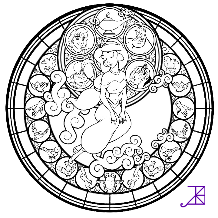 Jasmine Stained Glass Line Art By Akili Amethyst On DeviantArt