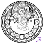 Pocahontas Stained Glass -line art-