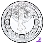 Rapunzel Stained Glass -line art-