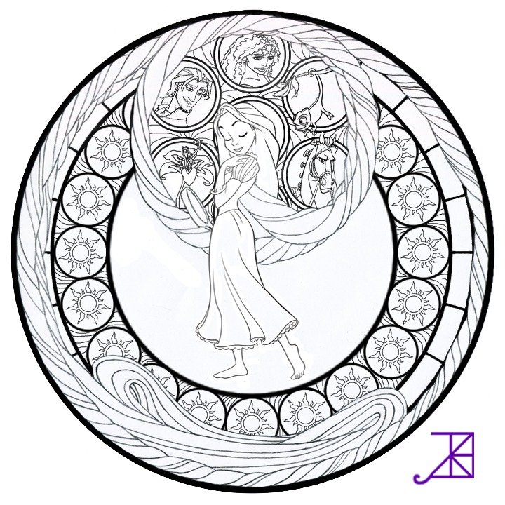 Rapunzel Stained Glass line Art By Akili Amethyst On
