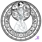 Sally Stained Glass -line art-