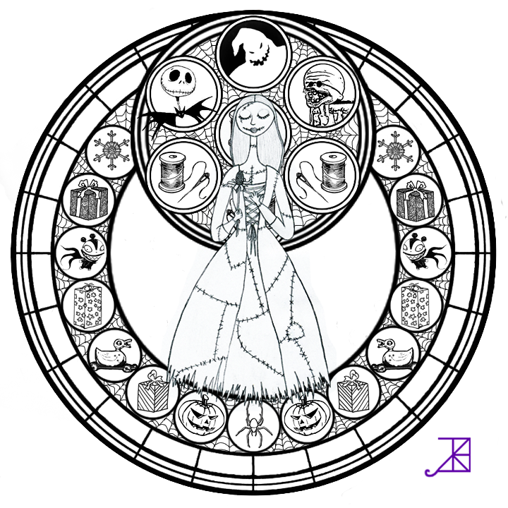 kingdom hearts printable coloring pages - sally stained glass line art by akili amethyst on deviantart