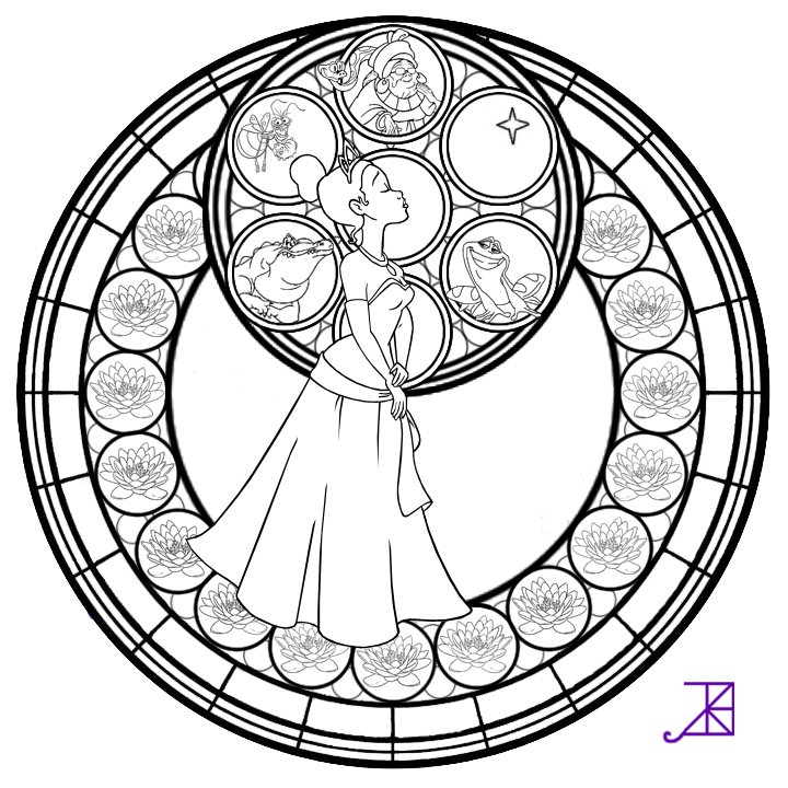 Tiana stained glass line art by akili amethyst